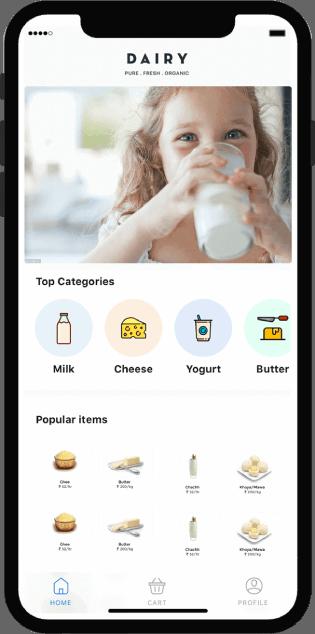 Milk Delivery App Screen